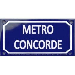 Plaque de rue émaillée 12x24cm : Station métro CONCORDE.