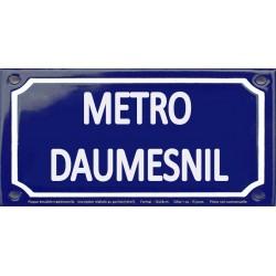 Plaque de rue émaillée 12x24cm : Station métro DAUMESNIL.