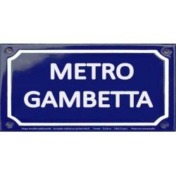Plaque de rue émaillée 12x24cm : Station métro GAMBETTA.