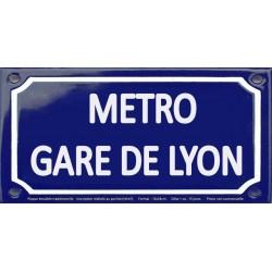 Plaque de rue émaillée 12x24cm : Station métro GARE DE LYON