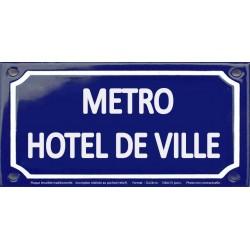 Plaque de rue émaillée 12x24cm : Station métro HOTEL DE VILLE
