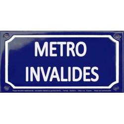 Plaque de rue émaillée 12x24cm : Station métro INVALIDES