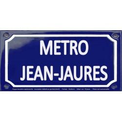 Plaque de rue émaillée 12x24cm : Station métro JEAN JAURÈS