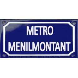 Plaque de rue émaillée 12x24cm : Station métro MENILMONTANT