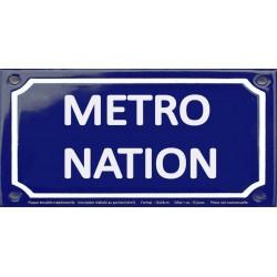 Plaque de rue émaillée 12x24cm : Station métro NATION