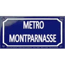 Plaque de rue émaillée 12x24cm : Station métro MONTPARNASSE