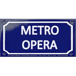Plaque de rue émaillée 12x24cm : Station métro OPERA