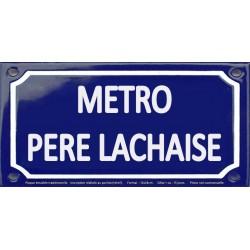 Plaque de rue émaillée 12x24cm : Station métro PERE LACHAISE