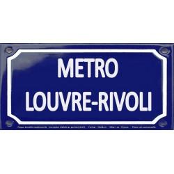 Plaque de rue émaillée 12x24cm : Station métro LOUVRE-RIVOLI