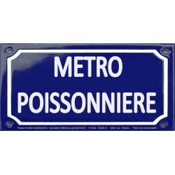 Plaque de rue émaillée 12x24cm : Station métro POISSONNIÈRE