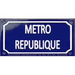 Plaque de rue émaillée 12x24cm : Station métro REPUBLIQUE