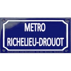 Plaque de rue émaillée 12x24cm : Station métro RICHELIEU-DROUOT