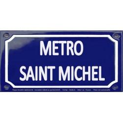 Plaque de rue émaillée 12x24cm : Station métro SAINT MICHEL