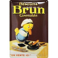 plaque publicitaire BISCUITS BRUN
