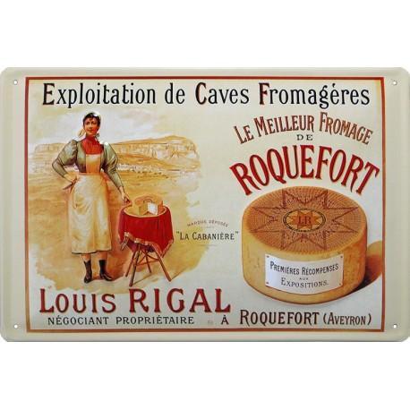 plaque métal bombée et en relief ROQUEFORT Louis Rigal