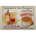 Plaque métal publicitaire 20x30cm bombée en relief : ROQUEFORT Louis Rigal