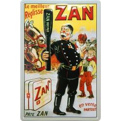 Plaque métal publicitaire 20x30cm bombée en relief : REGLISSE ZAN