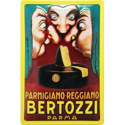 Plaque métal publicitaire 20x30 cm bombée en relief : BERTOZZI