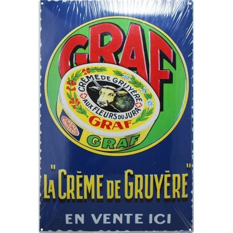plaque publicitaire 20x30cm bombée GRAF crème de gruyère