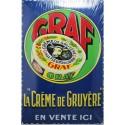 Plaque métal publicitaire 20x30cm bombée : GRAF crème de gruyère