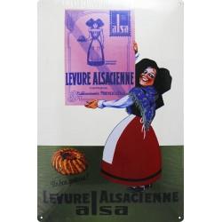 Plaque métal publicitaire 20x30cm bombée : Levure Alsacienne