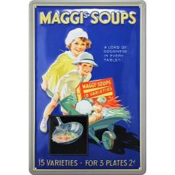 Plaque métal publicitaire 20x30cm bombée en relief : SOUPE MAGGI.
