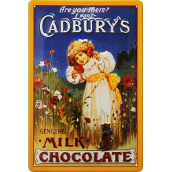 Plaque métal publicitaire 20x30cm bombée en relief: Cadbury's Chocolat.