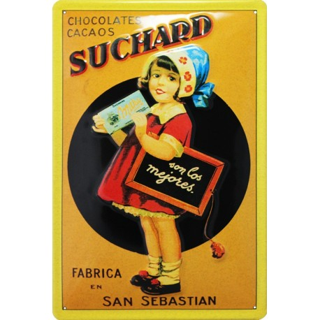 m15214 plaque publicitaire bombée chocolat suchard st Sébastia