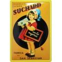 Plaque métal publicitaire 15x21cm bombée : Chocolat Suchard St Sébastian.