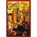 plaque publicitaire métal 20x30cm bombée en relief : Cadbury's cocoa