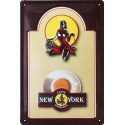 Plaque métal publicitaire 20x30cm bombée en relief : Café Expresso New York.