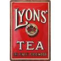 Plaque métal publicitaire 20x30 cm bombée en relief : LYONS' TEA
