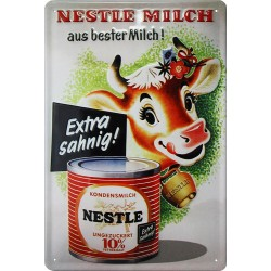 Plaque métal  publicitaire 20x30cm bombée en relief  : Nestlé