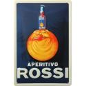 Plaque métal publicitaire 20x30cm bombée en relief : Appéritifs ROSSI.