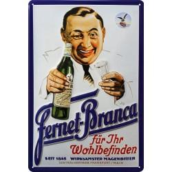 Plaque métal publicitaire 20x30cm  bombée en relief : FERNET-BRANCA .
