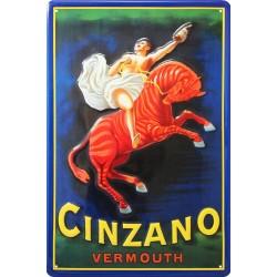 Plaque métal  publicitaire 20x30cm bombée en relief : Cinzano Vermouth