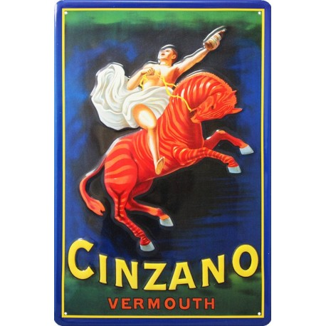 plaque publicitaire 20x30cm bombée en relief Cinzano Vermouth