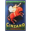 Plaque métal publicitaire 20x30cm bombée en relief : Cinzano Vermouth.