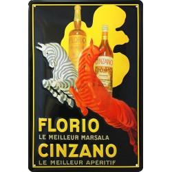 Plaque métal  publicitaire 20x30 cm bombée en relief : CINZANO