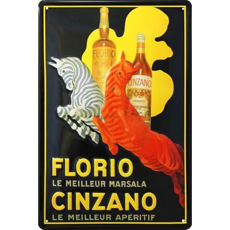 Pour votre Décoration intérieure cette plaque publicitaire 20x30 cm bombée en relief Cinzano