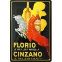 Plaque métal publicitaire 20x30 cm bombée en relief : CINZANO.