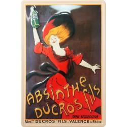 Plaque métal publicitaire 15x21cm bombée : Absinthe Ducros Fils.