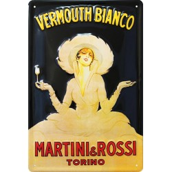 Plaque métal publicitaire 20x30 cm bombée en relief :  Vermouth Bianco Martini