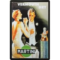 Plaque métal publicitaire 20x30 cm bombée en relief :  Vermouth Dry Martini