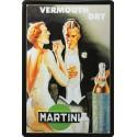 Plaque métal publicitaire 20x30 cm bombée en relief : Vermouth Dry Martini.