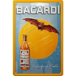 Plaque métal publicitaire 20x30 cm bombée en relief : Bacardi.