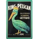 Plaque métal publicitaire 20x30cm bombée en relief : King Pélican.