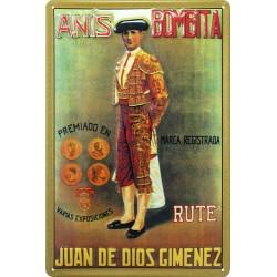 Plaque métal publicitaire 20x30 cm bombée en relief : Anis Bombita.