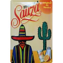 Plaque métal  publicitaire 20x30 cm bombée en relief : Téquila Sauza.