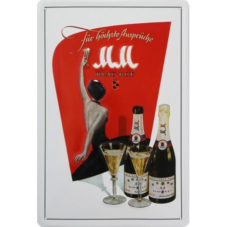 plaque publicitaire bombée en relief 20x30cm Champagne MM MM
